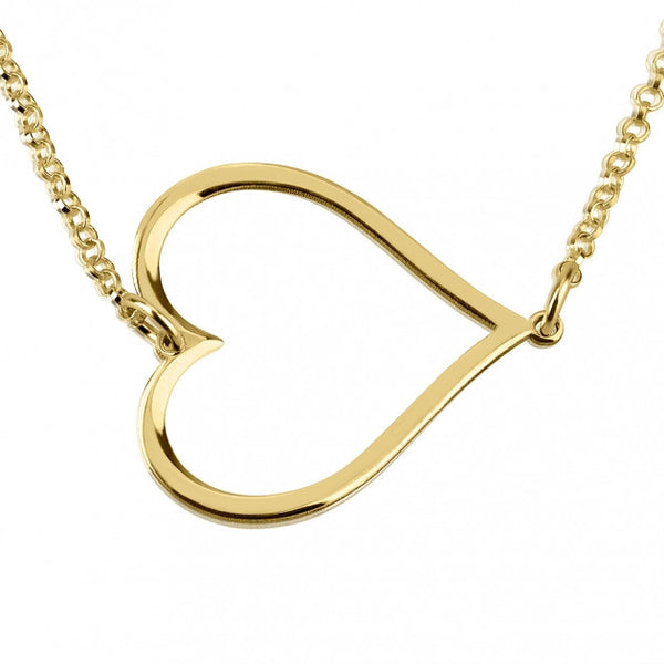 24k Gold Plated Sideways Heart Necklace - jeweleen - 1