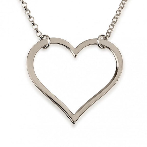 Sterling Silver Split Chain Heart Necklace - jeweleen - 1