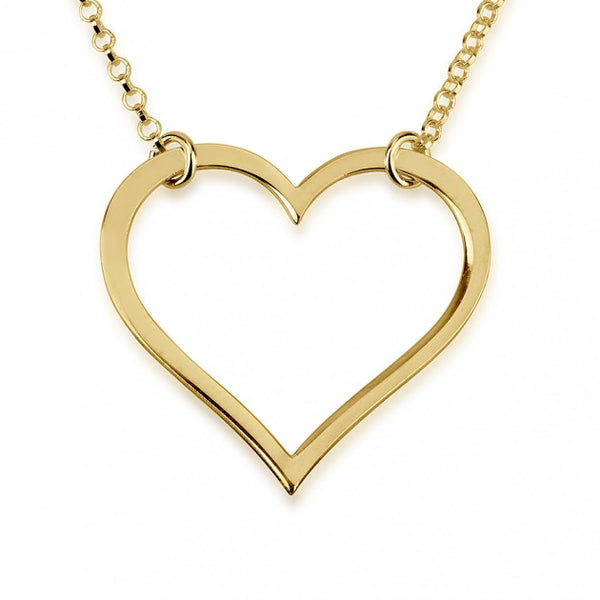 24k Gold Plated Split Chain Heart Necklace - jeweleen - 1