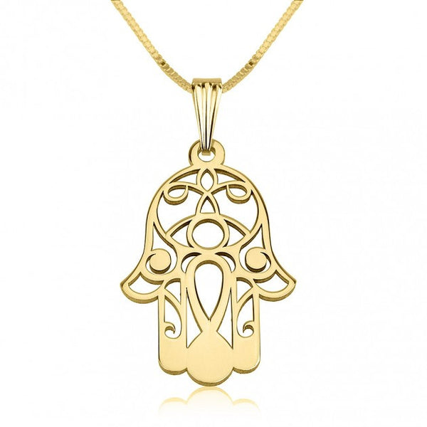 24K Gold Plated Hamsa Hand (Hand of Fatima) Necklace - jeweleen - 1