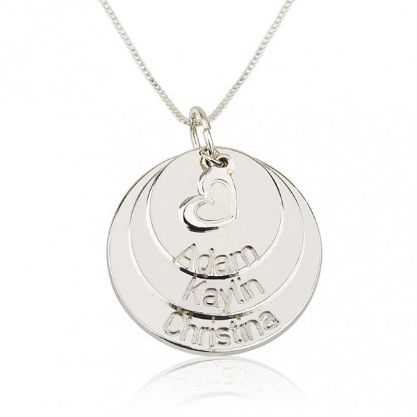 Sterling Silver Engraved Mother Disc Necklace with Heart - jeweleen - 1