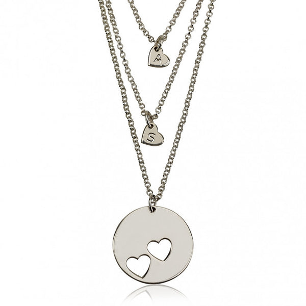 Sterling Silver Engraved Mother Daughter Heart Necklace Set - jeweleen - 1