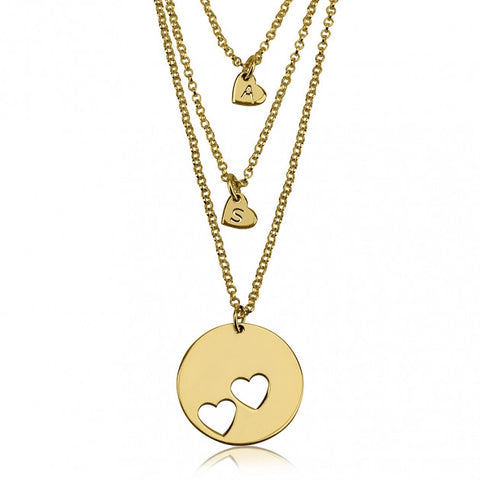 24k Gold Plated Engraved Mother Daughter Heart Necklace Set - jeweleen - 1
