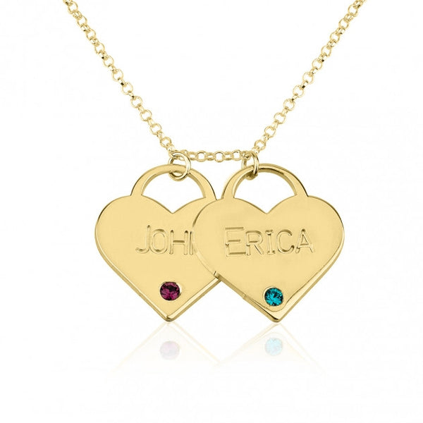 24k Gold Plated Engraved Birthstone Two Heart Necklace - jeweleen - 1