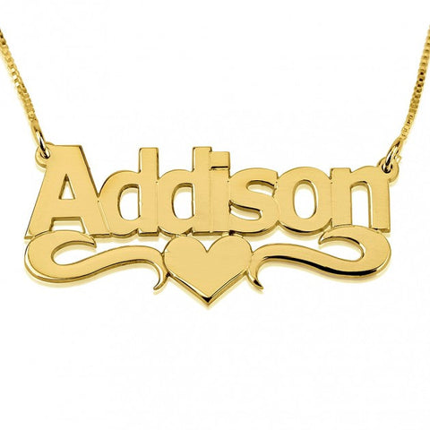 14K Gold Bold Print with Heart Name Necklace - jeweleen - 1