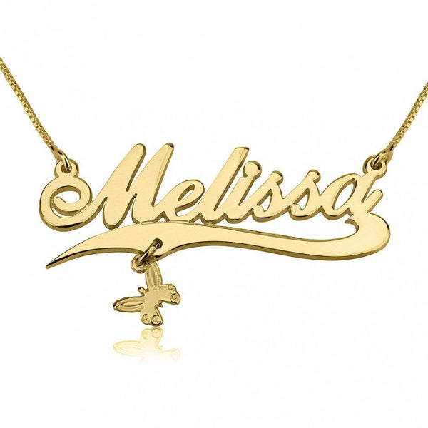 14K Gold Alegro with Line and Charm Name Necklace - jeweleen - 1