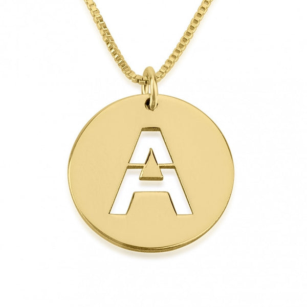 24K Gold Plated Initial Cut Out Disc Necklace - jeweleen - 1