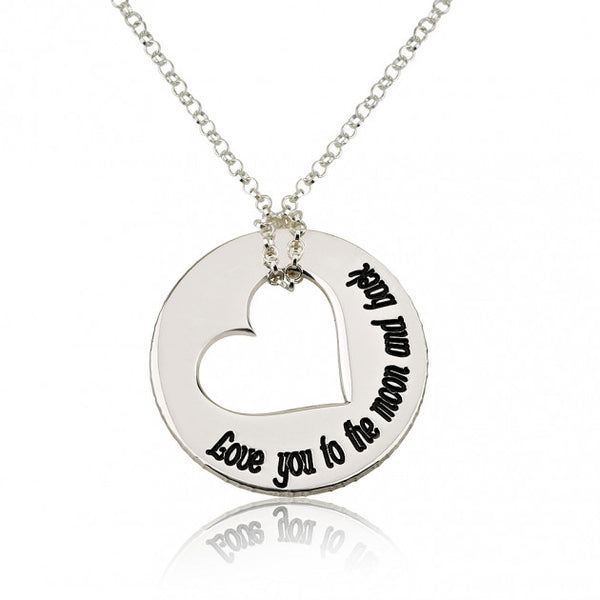 Sterling Silver Love You to the Moon and Back Necklace - jeweleen - 1