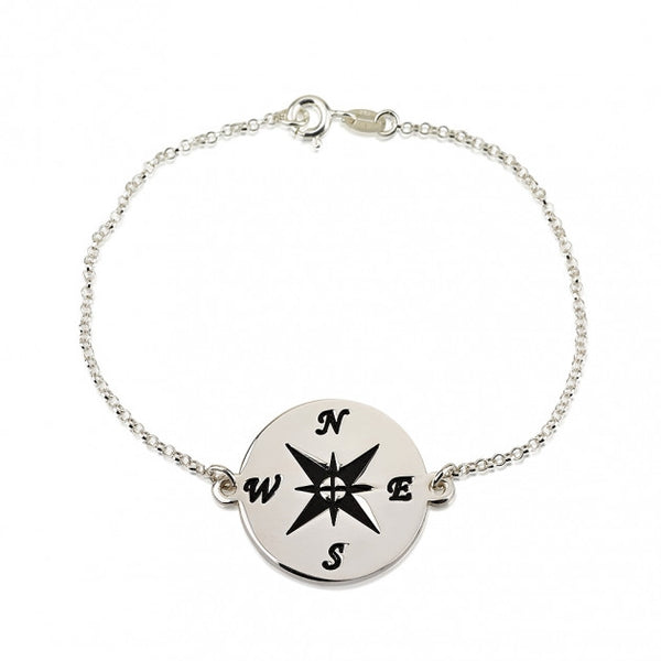 Sterling Silver Compass Bracelet - jeweleen - 1