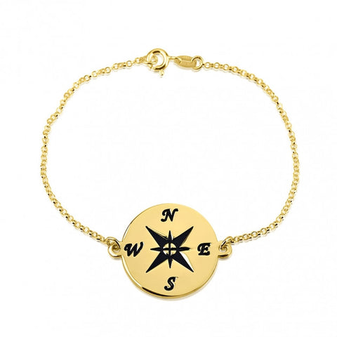 24k Gold Plated Compass Bracelet - jeweleen - 1