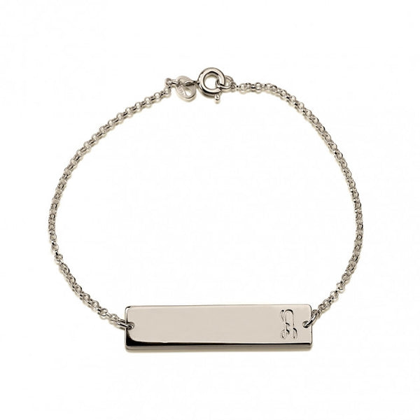 Sterling Silver Fancy Initial Bar Bracelet - jeweleen - 1