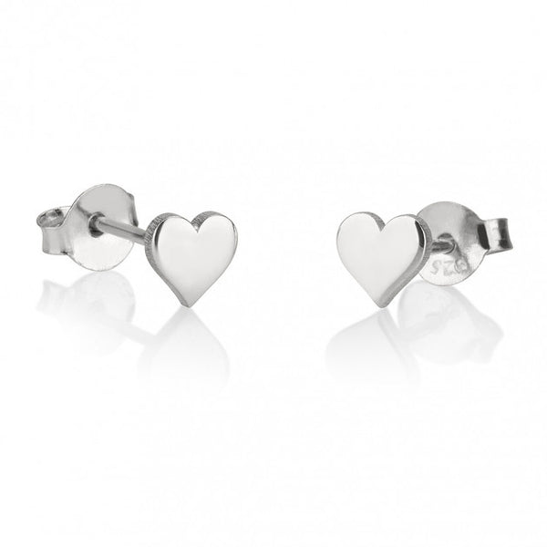 Sterling Silver Heart Stud Earrings - jeweleen