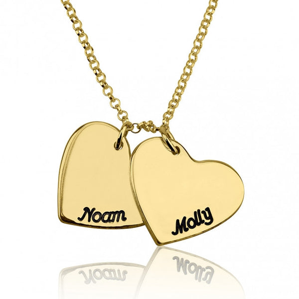 24k Gold Plated Engraved Hearts Love Necklace - jeweleen - 1