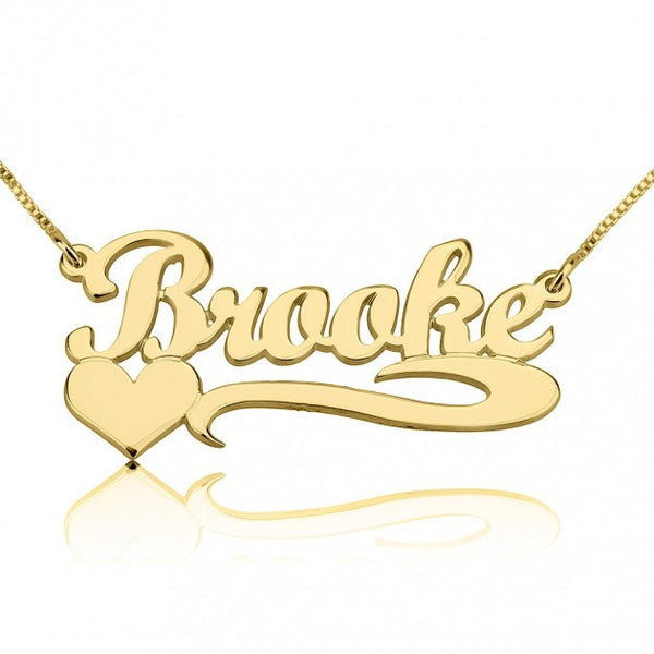 14K Gold Handwritten with Side Heart Name Necklace - jeweleen - 1