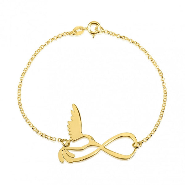 24k Gold Plated Infinity Bird Bracelet - jeweleen - 1