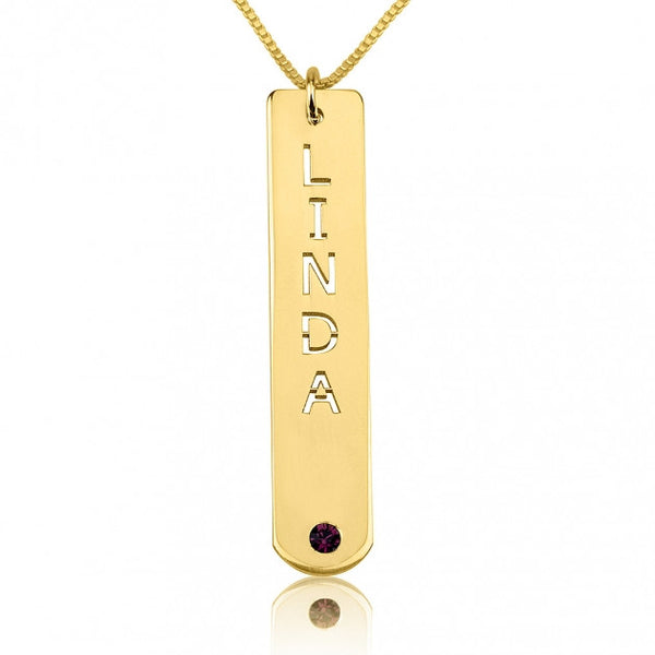 24k Gold Plated Vertical Bar Necklace with Birthstone - jeweleen - 1