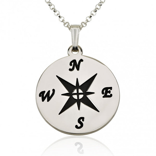 Sterling Silver Compass Necklace - jeweleen - 1