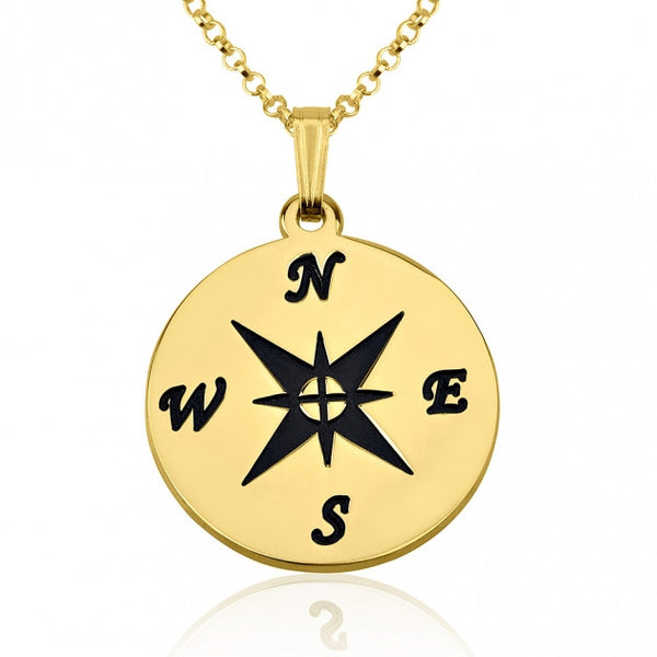 24k Gold Plated Compass Necklace - jeweleen - 1