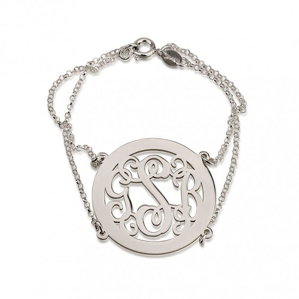 Sterling Silver Framed Curly Monogram Bracelet with Double Chain - jeweleen - 1