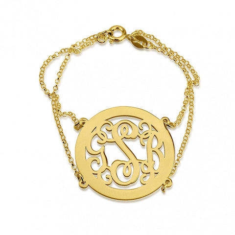 24k Gold Plated Framed Curly Monogram Bracelet with Double Chain - jeweleen - 1