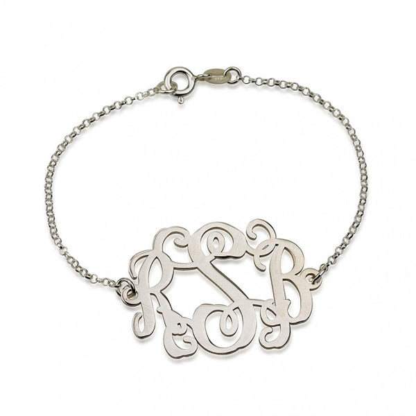 Sterling Silver Curly Monogram Bracelet - jeweleen - 1