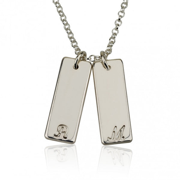 Silver Small Vertical Bar Initial Necklace - jeweleen - 1