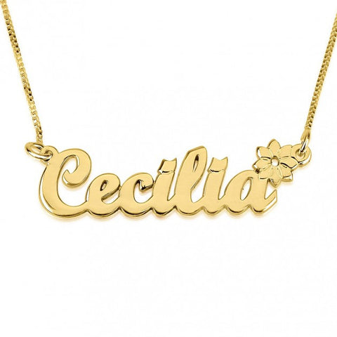 14K Gold Handwritten with Flower Name Necklace - jeweleen - 1