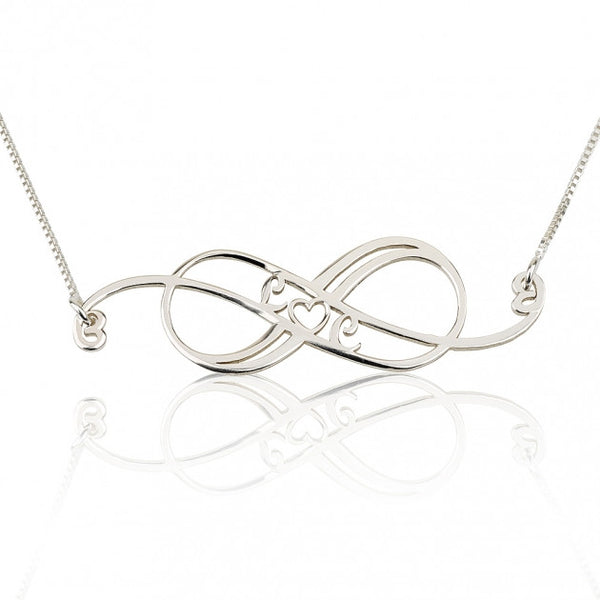 Sterling Silver Swirly Initial Infinity Necklace - jeweleen - 1