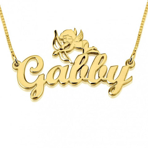 14K Gold Handwritten Name Necklace with Bent Cupid - jeweleen - 1