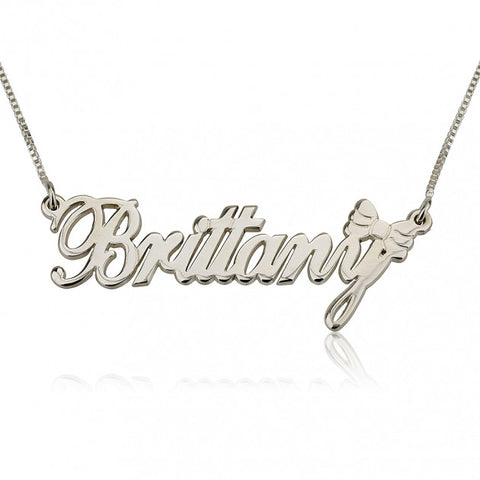 Sterling Silver Name Necklace with Bow - jeweleen - 1