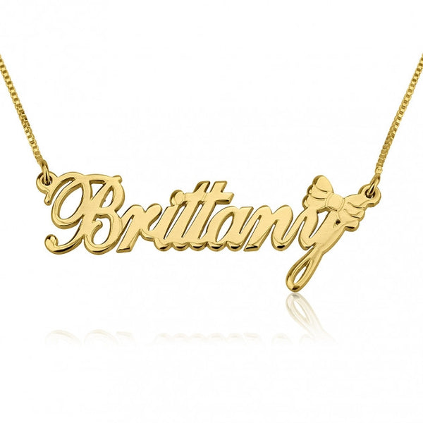 24k Gold Plated Name Necklace with Bow - jeweleen - 1