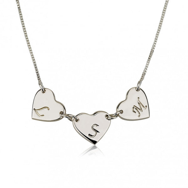 Sterling Silver Linked Hearts Initial Love Necklace - jeweleen - 1