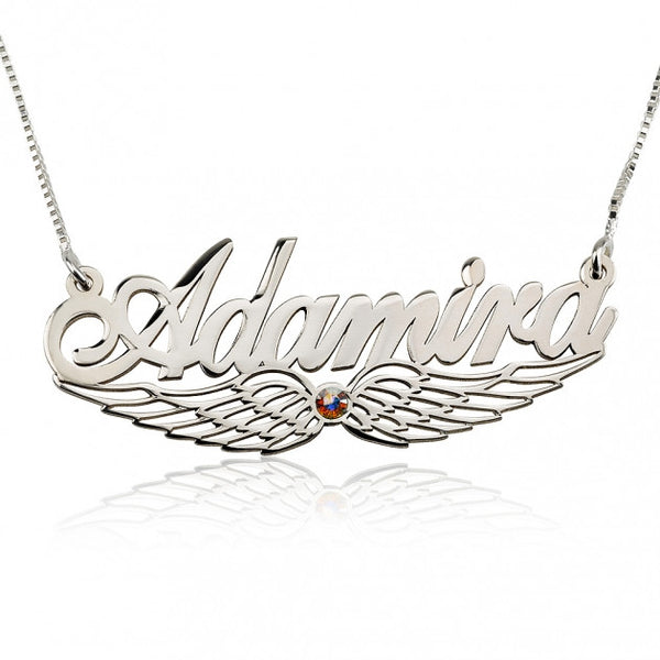 Sterling Silver Wing Name Necklace with Swarovski Stone - jeweleen - 1