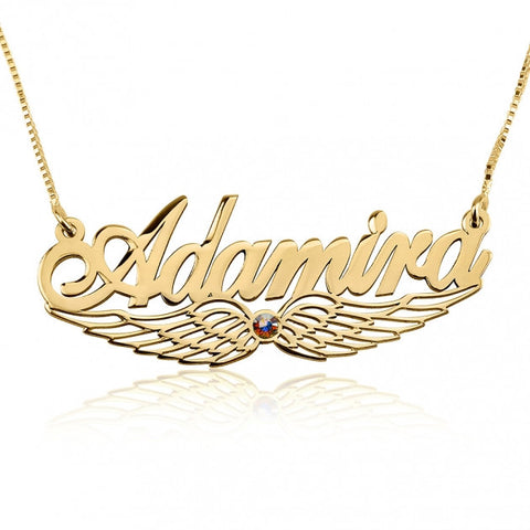 24k Gold Plated Wing Name Necklace with Swarovski Stone - jeweleen - 1