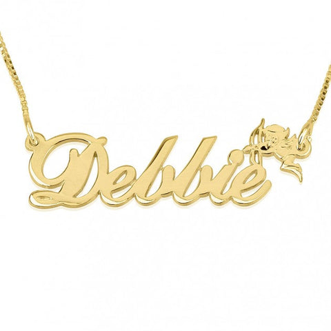 14K Gold Alegro Name Necklace with Cupid - jeweleen - 1
