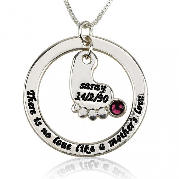 Sterling Silver Mother's Baby Footprint Love Necklace with Birthstone - jeweleen - 1