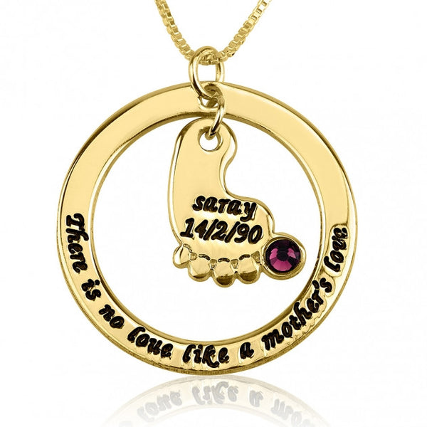 24k Gold Plated Mother's Baby Footprint Love Necklace with Birthstone - jeweleen - 1