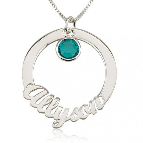 Sterling Silver Circle Necklace with Name and Swarovski Birthstone - jeweleen - 1