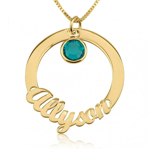 24k Gold Plated Circle Necklace with Name and Swarovski Birthstone - jeweleen - 1