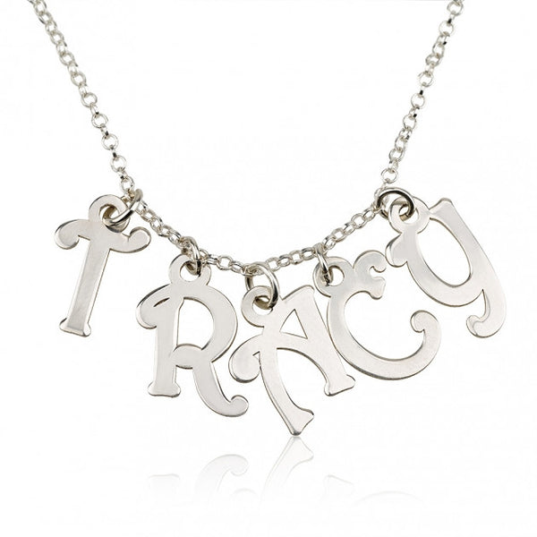 Sterling Silver Charm Name Necklace - jeweleen - 1