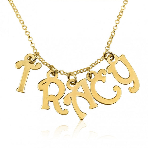 24k Gold Plated Charm Name Necklace - jeweleen - 1