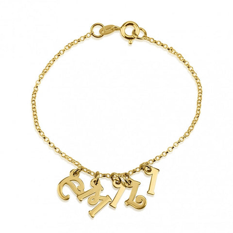24k Gold Plated Charm Name Bracelet - jeweleen - 1