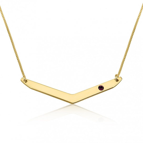 24k Gold Plated Chevron Birthstone Necklace - jeweleen - 1