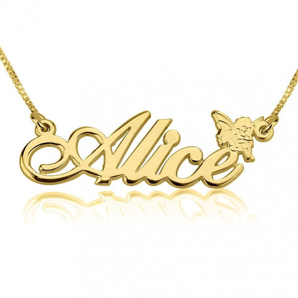 14K Gold Alegro Name Necklace with Angel - jeweleen - 1