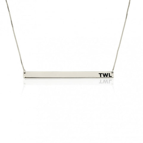 Sterling Silver Thin Monogram Bar Necklace - jeweleen - 1