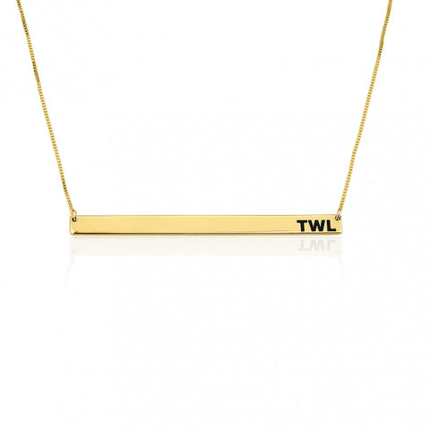 24k Gold Plated Thin Monogram Bar Necklace - jeweleen - 1