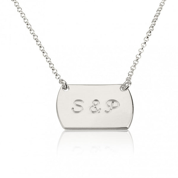 Sterling Silver Two Initial Horizontal Dog Tag Style Necklace - jeweleen - 1