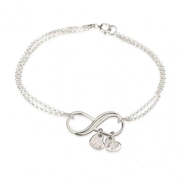 Sterling Silver Infinity Initial Heart Charms Bracelet - jeweleen - 1