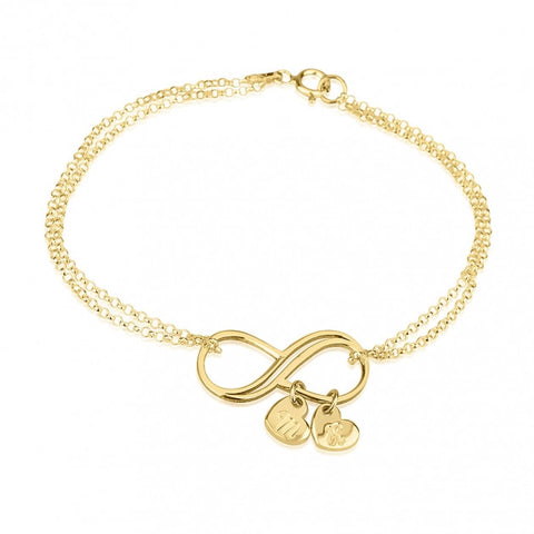 24k Gold Plated Infinity Initial Heart Charms Bracelet - jeweleen - 1