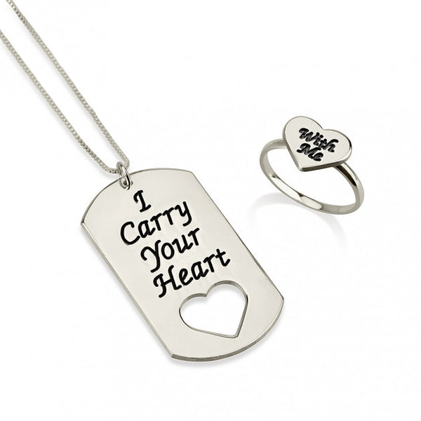 Sterling Silver I Carry Your Heart with Me Dog Tag and Ring Set - jeweleen - 1
